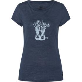 super.natural Blooming Boots Tee Women, blauw